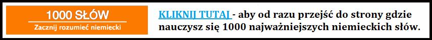 Strona do szybkiej nauki 1000 najczęściej używanych niemieckich słów.